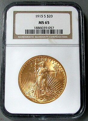 1915-S Gold $20 Saint Gaudens Double Eagle Coin Ngc Mint State 65
