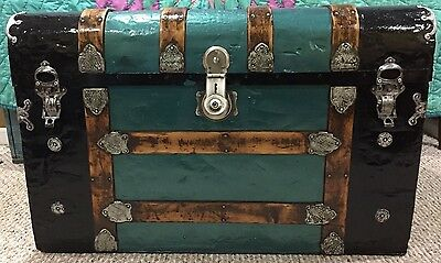Antique Refinished Monitor Top Steamer Trunk