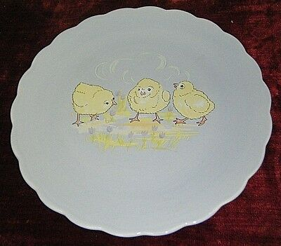 """CUTE VTG PERYWNKLE 12"""" Lg EASTER CHICKS PLATE BY KATE WILLIAMS FOR GLOBAL DESUGN"""