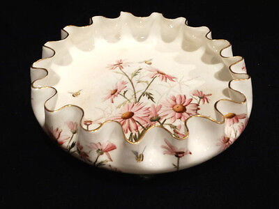 """Victorian 10"""" Ruffled Footed Hand Painted Bowl with Daisies & Bees, circa 1890"""