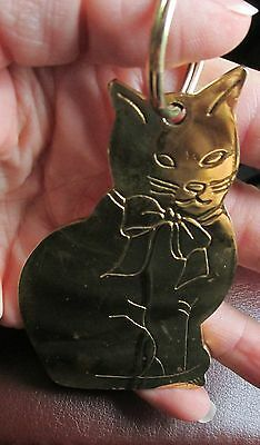 "Vintage 4"" BRASS Cat Kitten KEY CHAIN Fob Key Chain ""GORDON FRASER"""