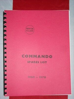 Parts Manual Fits Norton 750cc Commando 1968 1969 1970 Fully Illustrated Catalog