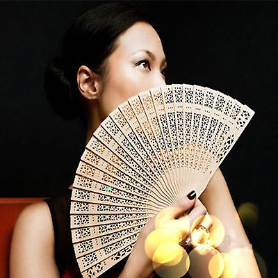 UP Vintage Folding Chinese Traditional Bamboo Wooden Fragrant Hand Fan Wedding
