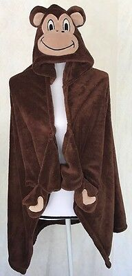 Blanket Cuddly Boys/Girls Monkey Hooded Wrap Throw Brown Hands and tail