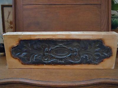 Antique Victorian Wooden Carved Scroll Stamp Print Mold Heavy Duty Nice