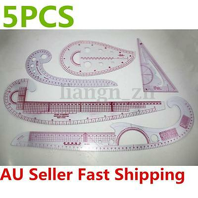 5 Styles Clear French Curve Metric Ruler Measure Sewing Dressmaking Design Tool