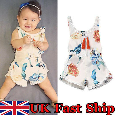 UK Stock Baby Girls Kids Summer Romper Jumpsuit Toddler Clothes Outfits 0-4Years