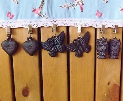 Set 4 Vintage Cast Iron Tablecloth Holder Clip Weights Butterfly Owls Hearts