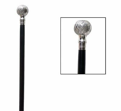 Brass Crafted Ball Handle Walking Stick Wooden Black