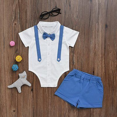 2pcs Newborn Infant Baby Boys Gentleman Romper Tops+Shorts Clothes Outfits Set