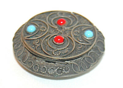 Antique 19th Century Tibetan Silver Box Red Coral Persian Turquoise