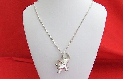 Vintage 925 Sterling Silver Elephant Pendant & Curb Link Necklace