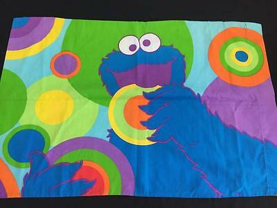 Elmo Cookie Monster pillowcase standard twin size Sesame Street rainbow colors