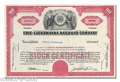 100 RARE RED ERIE-LACKAWANNA 100s STOCKS 99c! BEST PRICE ON EARTH! OUR LAST 100!