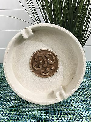 Mid Century Modern ITALIAN CREAM & BROWN CRACKLE GLAZE POTTERY ASHTRAY 7 1/2""