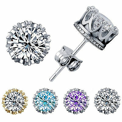 925 Sterling Silver CZ 8MM Crown Stud Earrings Round Crystal Cubic Zirconia New