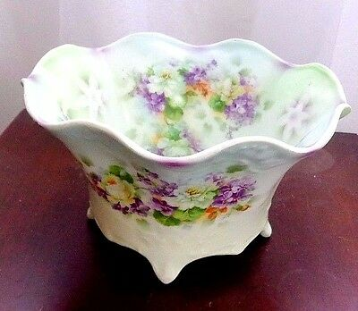 Antique Silesia Footed Porcelain w/HP Roses & Violets Centerpiece Bowl Germany