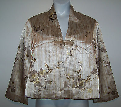 Rococo Chinese Silk Jacket / Robe Floral Print Size 44