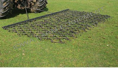 "Drag Harrow, Flexible, 8' Wide x 6' Long x 5/8"" Tines w/Drawbar: Triple Action!"