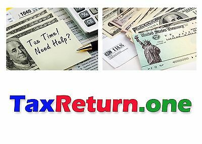 TaxReturn.one Domain Name for # ONE Tax Return Services Company Website IRS
