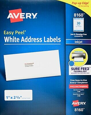 "Avery 8160 White Address Labels Inkjet Easy Peel Pop-up Edge, 1"" x 2 5/8"""
