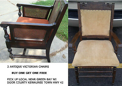 DOOR COUNTY WI Vtg Eastlake Victorian Parlor Side Chair Gothic Antique Wood FREE
