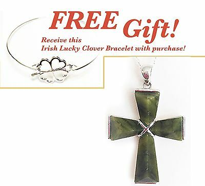 Irish Sterling Silver Connemara Marble Small Cross Necklace + FREE Gift!  #1071