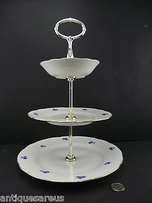 3 Tier  Tidbit Server Or Holder  Mz Checkslovakia Backstamp W Belfor Foil Lable