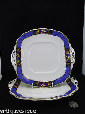 2 Rich Blue Banded Cake Or Cookie Plates With Fruit  Taylor Longton Kent 4988