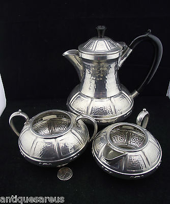 Vintage Pewter Tea Pot Cream And Sugar Hand Hammered Craftsman Sheffield England
