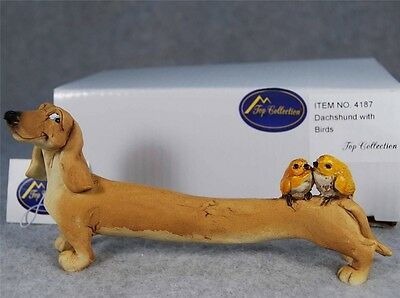 MIB Enchanted Story Fairy Garden Dachshund w/ Two Birds Figurine Top Collection