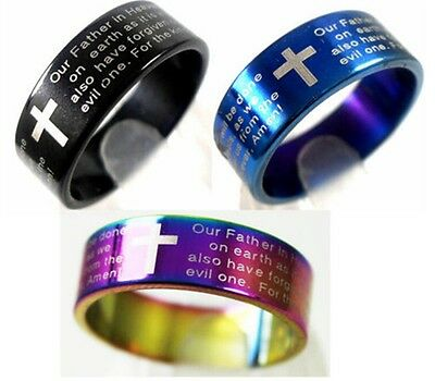 36 Lord's Prayer English Bible Prayer Stainless steel Ring wholesale Jewelry lot