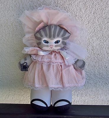 "Applause Tabby Cat 13"" Plush Toy Doll 1988 (Dustyn Shear) Vintage Pink Outfit"