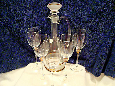 #165 Crystal Clear glass hand Made in Romania Decanter with five glasses.