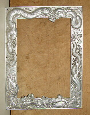 Lovely Antique Chinese Silver Plated Brass/copper Repousse Dragon Picture Frame