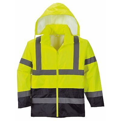 Portwest Mens Hi-Vis Two-Tone Classic Contrast Rain Jacket