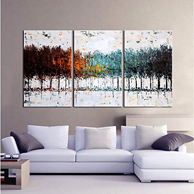 3-PIECE SET OIL On Canvas Painting Abstract Wall Art Large Modern ...