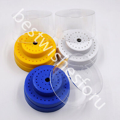 3 Colors 60 Holes Round Dental Burs Holder Block Case Box Slots With Plastic Lid