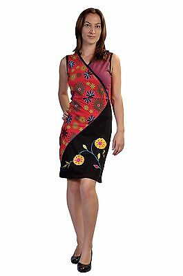Women Summer Sleeveless Dress With Floral Pattern & Patch