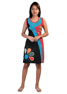 Women Summer Sleeveless Dress With Colorful Patches & Embroidery