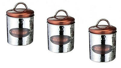 Vintage Copper Sugar Tea Coffee Kitchen Storage Canister Set of 3 Air Tight Jars