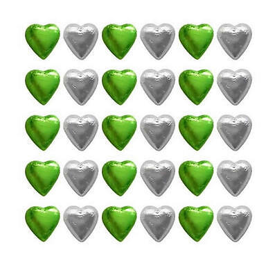 100 Cadbury Chocolate Lime Green And Silver Hearts-Wedding Favours Gifts Parties