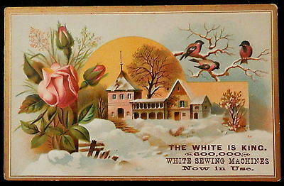 Trade Card WHITE Sewing Machines E W GEER Agent Mass - MATHER & GRAVES Conn