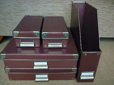 LOT OF 5 CRAFT STORAGE BOXES FOR 12x12 SCRAPBOOKING PAPER PENS IN PLUM/AUBERGINE
