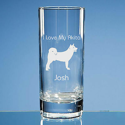 Akita Dog Lover Gift Personalised Hand Engraved Highball Glass - All Occasions