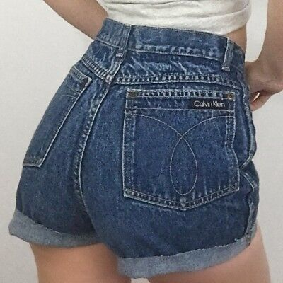 "Women's VTG CALVIN KLEIN Med Blue Denim Cut Offs Jean Shorts High Rise S | 26""W"