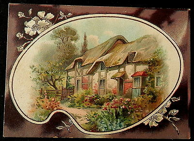 LION COFFEE - TRADECARD - PICTURE CARD - # 7 - ENGLISH COTTAGE - RARE Must See
