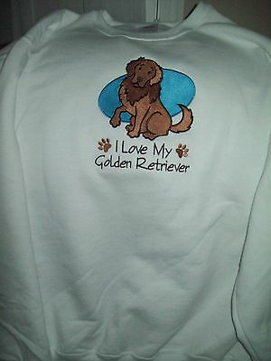 I Love My Golden Retriever Dog Breed Personalized Embroidered SWEATSHIRT