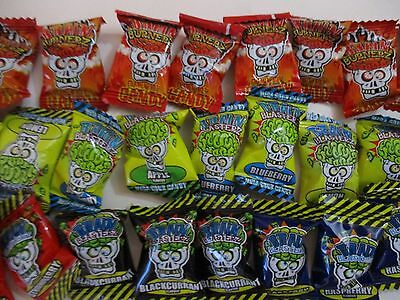 36 X Brain Blasterz  Candy Sweets, 12 Mega Sour 12 Dark Fruits 12 Mega Hot Candy