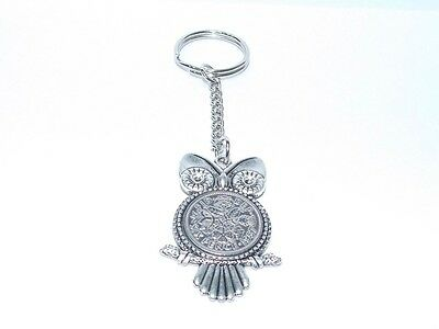 60th Birthday Sixpence Owl Keyring for 1958 Gift boxed